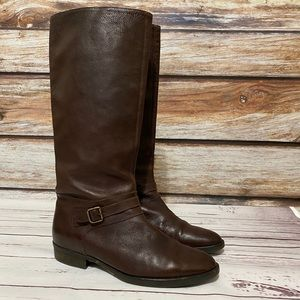 J Crew Leather Riding Boots Dark Brown Tan Size 10